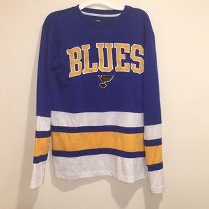 St Louis Blues Long Sleeve Appliqué NWOT S (36-38)